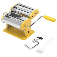 bremermann Nudelmaschine Edelstahl/Metall gelb - für Spaghetti, Pasta und Lasagne (7 Stufen), Pastamaschine, Pastamaker