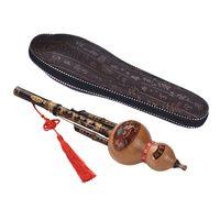 Chinesische Handgemachter schwarzer Bambus Hulusi Gourd Cucurbit Flöte Volksmusikinstrument Tonart C mit Fall für Anfänger Music Lovers