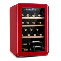 Klarstein Vinetage 19 Uno Weinkühlschrank , 70 Liter / 19 Flaschen , Temperatur: 4-22 °C , Kompressor , 2 Holzregalebenen , LED-Beleuchtung , UV-Schutz , Weinkühler , Klein , Freistehend , Rot