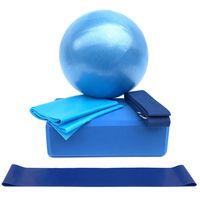 5pcs Yoga-Ausruestungs-Satz schliessen Yoga-Ball-Yoga-Bloecke ein, die Buegel-Widerstand-Schleifen-Band-uebungs-Band ausdehnen
