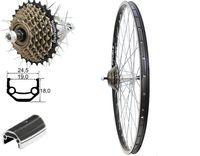 26 Zoll Hinterrad Laufrad schwarz Hohlkammerfelge 7 fach Shimano Zahnkranz