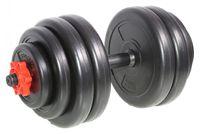 SportPlus 15 kg Hantel mit Sternverschluss, bodenschonende Ummantelung, Riffelgriff, Verschiedene Ausführungen