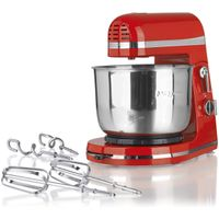 Cuisine edition Handrührgerät Küchenmaschine 250W rot, Modern Style, 3tlg. inkl. Edelstahl Rührschüssel, Knethaken und Rührstäben
