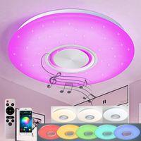 Natsen 24W RGB Bluetooth Deckenleuchte LED Deckenlampe mit Bluetooth Lautsprecher APP-Steuerung und Fernbedienung(400 * 55mm)