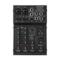 ammoon 4-Kanal-Mini-Mischpult Digitaler Audiomischer 2-Band-EQ Eingebaute 48-V-Phantomspeisung 5 V USB-Stromversorgung für Heimstudio-Aufnahmen DJ Network Live-Sendung Karaoke AGM04