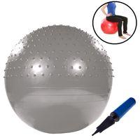Gymnastikball mit Noppen 75cm inkl. Handpumpe Silber Fitnessball Yogaball Sitzball Sportball Aerobik Balance Pilates Ball