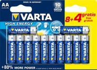 "VARTA Alkaline Batterie ""High Energy"" Mignon AA 8+4 GRATIS (12 Batterien)"