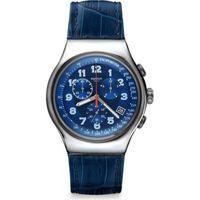 Swatch YOS449 Herren-Armbanduhr, Edelstahl-Gehäuse, Leder-Armband
