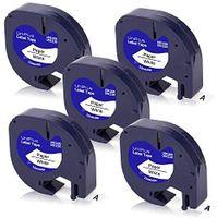 UniPlus 5x Kompatibel Etikettenband als Ersatz fürDymo Letratag Etikettenband 91200 91220 S0721520 12mm x 4m, Schwarz auf Weiß für Dymo LetraTag LT-100H LT100H LT-100T XR QX50 Etikettendrucker