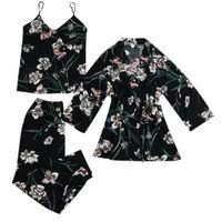 Satin Silk Pyjamas Frauen Nachthemd Dessous Roben Unterwäsche Nachtwäsche y Größe:M,Farbe:Schwarz