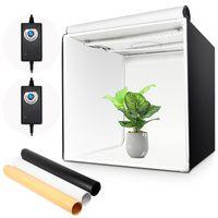 Yorbay Fotostudio Set 60 x 60 x 60cm LED-Fotobox Lichtbox Lichtwürfel Profi Fotografie Lichtzelt inkl. 3 PVC-Hintergrundfolien (schwarz, rein weiß, warm-weiß)