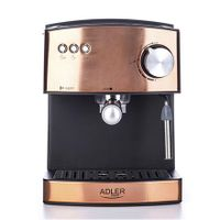 Adler Espressomaschine   Kaffeemaschine   Milchaufschäumer   Cappuccinomaschine   Siebträger Espressomaschine   Elektrische Espressomaschine   Bronze Design   1,6L Wassertank   850 Watt  15 bar  