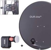 DUR-line MDA 80 Satellitenschüssel anthrazit + Octo LNB