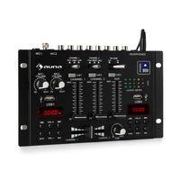 auna DJ-22BT MKII Mischpult  , 3/2-Kanal-DJ-Mischpult  , Bluetooth  , 2 x USB  , 2 Displays  , Bluetooth  , Ein- und Ausgänge im Cinch-Format  , 3 x 6,3 Klinkenanschlüsse für Kopfhörer und 2 Mikrofone  , Schwarz