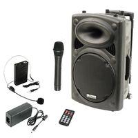 Ibiza Port15VHF-BT - mobile PA-Anlage, PA-Box, Bluetooth-Lautsprecher, 450 Watt RMS, Akku-Betrieb, MP3-fähiger USB-Port, intergriertes VHF-Funkmikrofon, Fernbedienung, schwarz