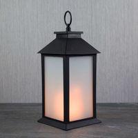 LED-Laterne, Farbe: schwarz, Flammeneffekt
