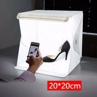 Klappbare beleuchtung softbox mit led-leuchten 2 backdrops für produkt anzeige S. Weiß Leichte Zelte