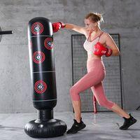 160cm Boxsack Aufblasbar PVC Erwachsene Kinder Sandsack Boxtraining Fitness B9U8