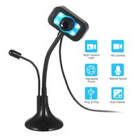 HD Webcam USB Desktop Laptop Kamera Mini Plug & Play Videoanruf Computerkamera mit Mic Night Version LED Licht Flexibler drehbarer Steher