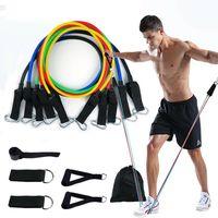 11tlg Resistance Fitnessbänder Expander Set Tube Gymnastikband Yoga Latexband