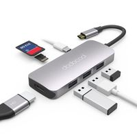 dodocool USB C Hub, 7 in 1 USB C Adapter, USB C Hub HDMI 4K mit 100W PD, SD/Micro SD-Kartenleser, 3 USB 3.0 für MacBook Pro/Air 2020/2019/2018, Chromebook, Dell XPS, Samsung S20/A71, Huawei Mate40/P40