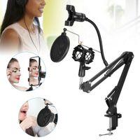 Mikrofonständer Set Tisch Mikrofonarm Microfon Halterung Stativ Verstellbar Mikrofonständer-Set Stahl