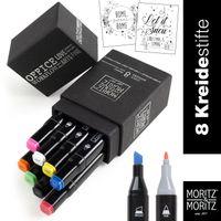 OfficeTree Kreidestifte mit Rundspitze und Keilspitze - Twin Marker in 8 Farben abwischbar