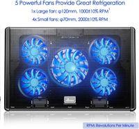 Laptop Kühler, Notebook Cooler Belüfteter Ständer 5 Lüfter mit LEDs Kühlmatte 12-17 Zoll, 2 USB 5 Höheverstellbar Notebookkühler - Schwarz