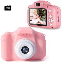 Kinder Kamera, Kinderkamera Digital Fotokamera Selfie, 2Zoll Digitalkamera 12M Pixel, vorderes und hinteres Objektiv, mit Blitzlicht, Fun Junge Mädchen Kamera 32GB SD-Karte, Pink