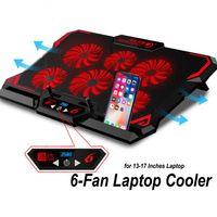 13 - 17 Zoll LED Notebook-Kühlpads Laptop Kühler Cooler Kühlpad Ständer 6 LED Lüfter rot