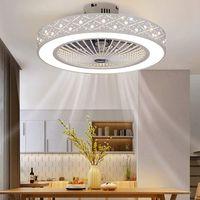 55cm Deckenventilator Ventilator mit Dimmbar LED Deckenleuchte Licht + Fernbedienung 220V 32W (Ananasperlenlüfterlampe)