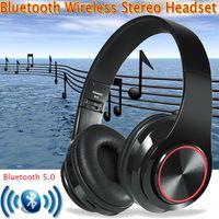 Kopfhörer Bluetooth V5.0 Wireless Kabellos 4 in1 Stereo Bass Headset Faltbare On-Ear  über Ohr Spiel mit Mikrofon/LED-Licht/TF Karte Lautstärkeregler für PC iPad Laptop iPhone