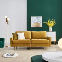 180cm Luxus Samt Stoffsofa Mit Metallbein und 2 Kissen - Gelb