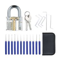 17 PCS Lock Picking Set mit sichtbarem Trainingsschloss Transparentes uebungsschloss Schlosserwerkzeuge Lockpicking Set fuer Anfaenger Profis Kinder