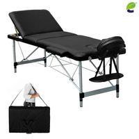 ecoMI - 3-Zonen Massageliege – klappbar & höhenverstellbar – mobile Alu Kosmetikliege mit Kopfschütze, Armlehnen & Tasche Schwarz
