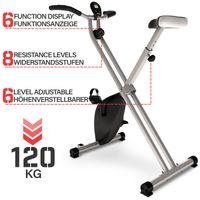 Physionics® Heimtrainer - mit LCD-Display, verstellbarer Sitz & Widerstand, klappbar, bis 120 kg, grau - Ergometer, F-Bike, Fahrradtrainer, Hometrainer, Fitnessfahrrad, Fitnessbike