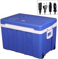WOLTU KUE003bl Kühlbox, Tragbarer Mini Kühlschrank, 50 Liter Isolierbox zum Warmhalten, Kühlen für Auto, mit Räder für Camping, DC 12V & AC 220V Grau [EEK A++]