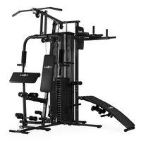 Klarfit Ultimate Gym 5000 - Heimtrainer, Trainingsstation, Kraftstation, multifunktionale Fitnessstation, für über 50 Übungen, Ganzkörpertraining, inkl. Gewichte, schwarz