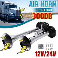 Doppelrohr Metall Elektrische Lufthupe Super Loud Universal für LKW, Auto, Zug, Boot