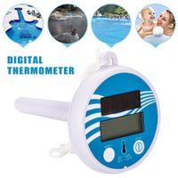 Schwimmendes solarbetriebenes Thermometer Schwimmbad Bad Whirlpool Temperaturmesser Weiss