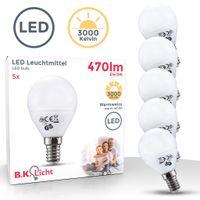 LED Lampe Energiesparlampe E14 LED Birne 5 Watt 470 Lumen Leuchtmittel Glühbirne warmweiß Tropfen 5er SET B.K.Licht