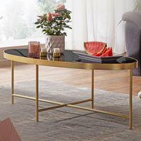 FineBuy Design Couchtisch Glas Schwarz - Oval 110 x 56 cm mit Gold Metallgestell   Großer Wohnzimmertisch   Lounge Tisch Glastisch
