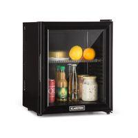 Klarstein Brooklyn 24L Kühlschrank mit Glastür - Mini-Kühlschrank, Mini-Bar, 24 L, 12-15 °C, Kunststoff-Einsatz, LED-Innenbeleuchtung, Glastür, für Single- und Kleinhaushalte, schwarz