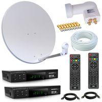 HD Sat Anlage 80cm Spiegel + Opticum Quad LNB für 4 Teilnehmer + 50m Kabel + 2x HD Sat Receiver (3 Farben wählbar)