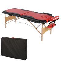 Massageliege 2 Zonen Kopfstütze Ergonomische Rot / Schwarz Mobile Massagebank Tasche Kosmetikliege Tragbar Holzfüßen Höhenverstellbaren Massagebett