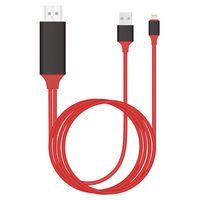 2M HDMI 1080P Kabel AV Adapter mit USB Ladekabel Für IOS iPhone XR 8 iPad Air Mini - Rot
