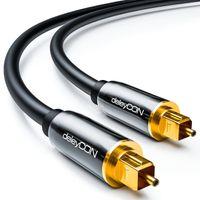 deleyCON 1,5m Optisches Digital Audio Kabel S/PDIF 2x Toslink Stecker LWL Lichtwellenleiter Kabel Metallstecker 5mm Flexibel - Schwarz