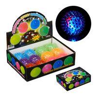 relaxdays 24 x LED Igelball, Stachelball, Igel Flummi, Noppenball, LED Ball Gummiball bunt