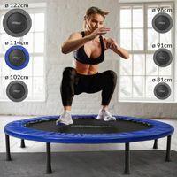 Physionics® Fitness Trampolin - Durchmesser Ø 114 cm, Indoor und Outdoor, max: 100 KG, mit Randabdeckung - Kindertrampolin, Gartentrampolin, Mini Trampolin, klappbar