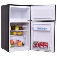 COSTWAY Kühlschrank mit Gefrierfach Standkühlschrank Gefrierschrank Kühl-Gefrier-Kombination/ 85L / Schwarz [F]